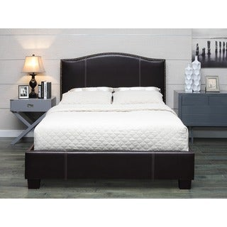 Venice-X Queen-size Chocolate Leather Bed with Euro Slats