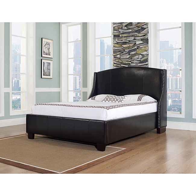 Oxford-X Queen-size Chocolate Leather Bed