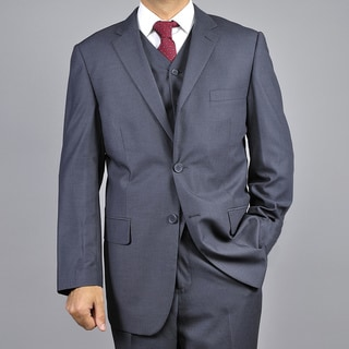 Carlo Lusso Men's Dark Charcoal Grey 2-Button Vested Suit