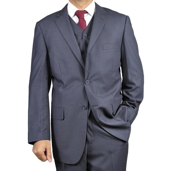 Men's Dark Charcoal Grey 2-Button Vested Suit