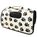 Pet Life Airline Approved Zippered Folding 'Cage' Carrier, Color: Paw Print Design, Size: Medium