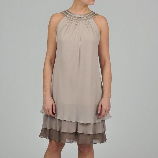 S.L. Fashions Women's Tiered Ruffle Chiffon Dress