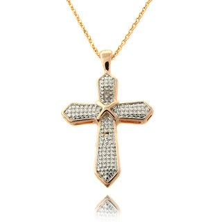Finesque Rose 14k Gold Overlay Diamond Accent Cross Necklace with Red Bow Gift Box