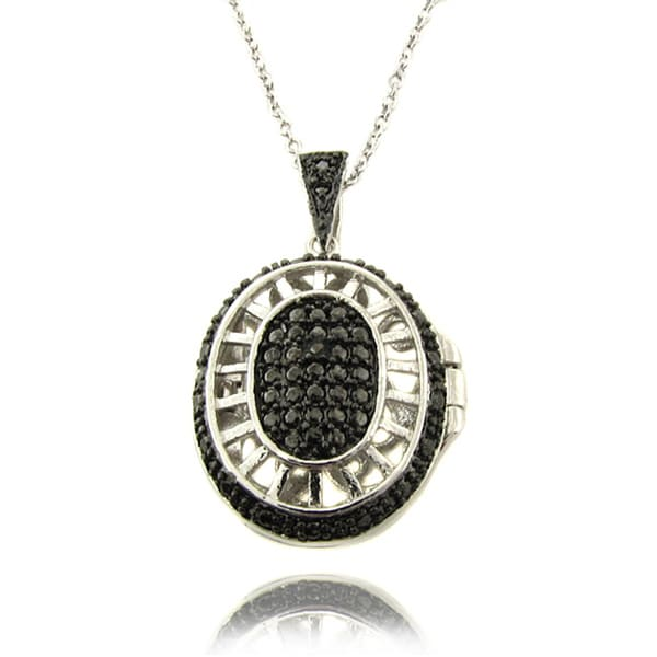 Finesque Silver Overlay Black Diamond Accent Oval Filigree Locket