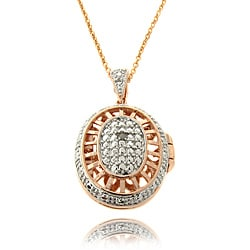 Finesque Rose Gold Overlay Diamond Accent Oval Filigree Locket