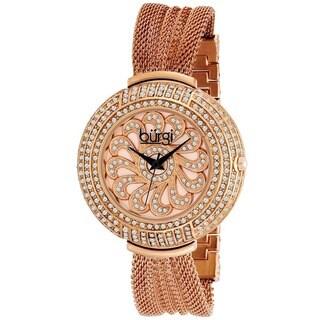 Burgi Women's Crystal Traditional Mesh Rose-Tone Bracelet Quartz Watch