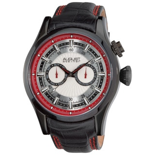 August Steiner Men's Black Steel Swiss Quartz Day/Date GMT Watch