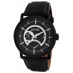 August Steiner AS8004BK Men's Dual-time Stainless Steel/ Leather Watch