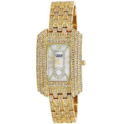 Burgi Women's Rectangular Crystal Quartz-Movement Bracelet Watch