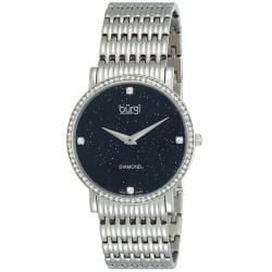 Burgi Women's Swiss Quartz Diamond Silvertone Bracelet Watch
