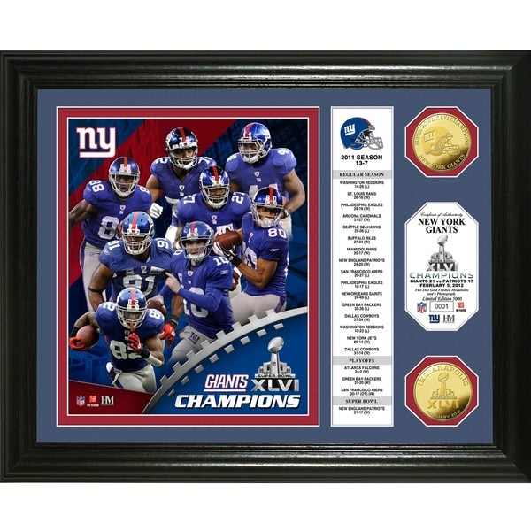 New York Giants Super Bowl XLVI Champions 24k Gold Coin Banner Photo Mint 8768158