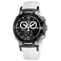 Tissot Men's T048.417.27.057.05 T-Race Black Dial White Silicone Strap Quartz Watch