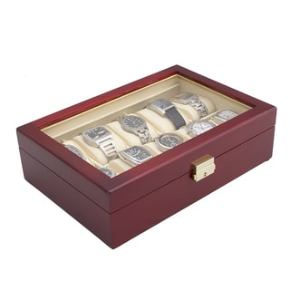 Glossy Rosewood Finish 10-watch Display Storage Case