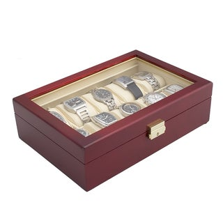 Caddy Bay Collection Glossy Rosewood Finish 10-Watch Display Storage Case