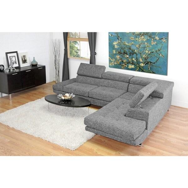 Baxton Studio Adelaide Grey Twill Fabric Modern Sectional Sofa