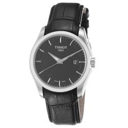 Tissot Men's T035.410.16.051.00 'Couturier' Black Dial Black Leather Strap Watch