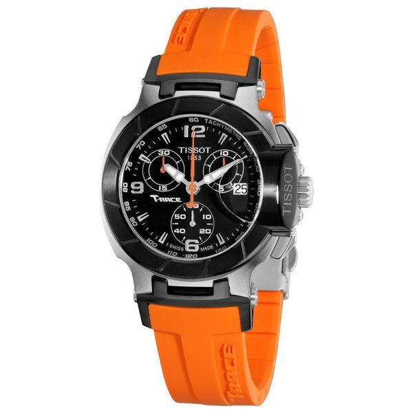 Tissot Women's T048.217.27.057.00 T-Race Black Dial Orange Silicone Strap