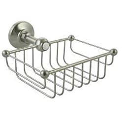 Westbrass Victorian 7-inch Rectangular Solid Brass Shower and Soap Wire Basket