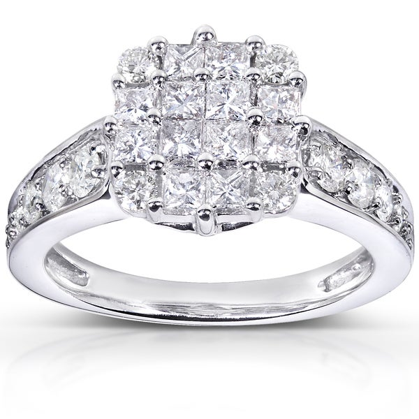 Annello 14k White Gold 1 1/10ct TDW Diamond Cluster Engagement Ring (H-I, I1-I2)