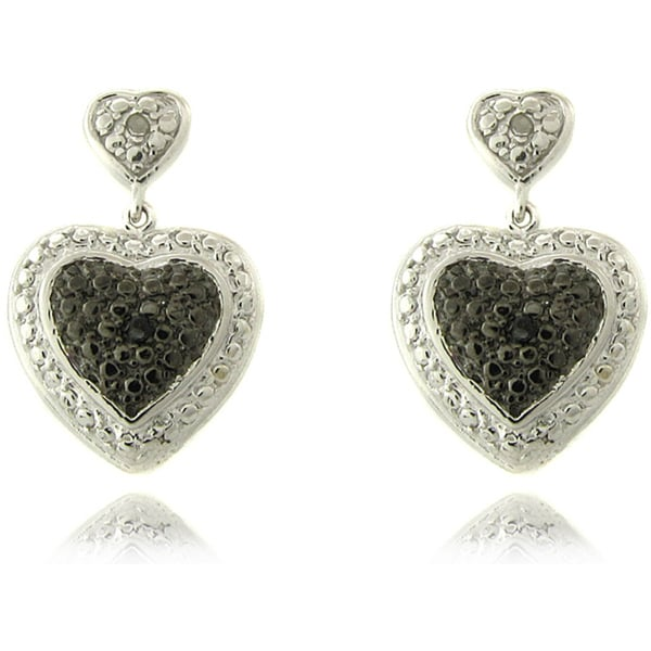 Sterling Silver Black and White Diamond Accent Heart Drop Earrings