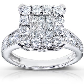 Annello 14k White Gold 1 1/3ct TDW Diamond Cluster Engagement Ring (H-I, I1-I2)