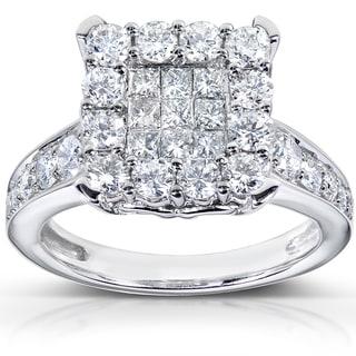 Annello 14k White Gold 1 1/3ct TDW Diamond Cluster Engagement Ring (H-I, I1-I2)