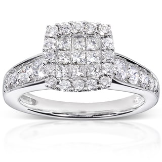 Annello 14k White Gold 7/8ct TDW Diamond Cluster Engagement Ring (H-I, I1-I2)
