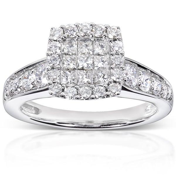 Annello 14k White Gold 7/8ct TDW Diamond Cluster Engagement Ring (H-I, I1-I2)