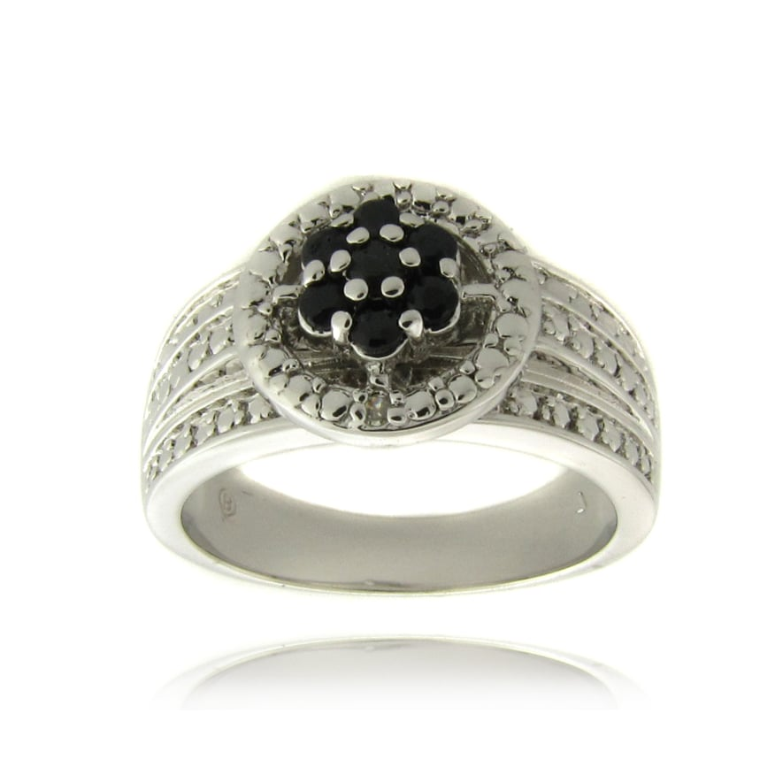 Dolce Giavonna Silverplated Sapphire and Diamond Accent Flower Ring