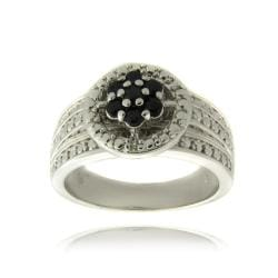 Dolce Giavonna Silver Overlay Sapphire and Diamond Accent Flower Ring