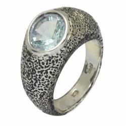 De Buman 18k Yellow Gold and Sterling Silver Sky Blue Topaz Ring