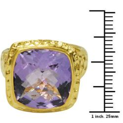 De Buman Gold over Sterling Silver Amethyst Ring