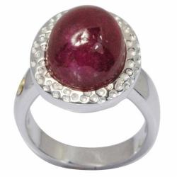 De Buman 18k Yellow Gold and Sterling Silver Oval-cut Ruby Ring