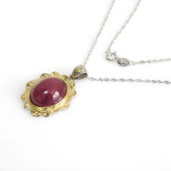 De Buman 18k Yellow Gold and Sterling Silver Ruby Necklace