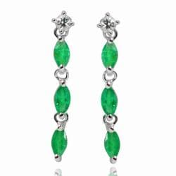 De Buman Sterling Silver Emerald and White Topaz Earrings