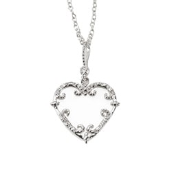 Collette Z 18-Inch Sterling-Silver Cubic Zirconia Heart Necklace
