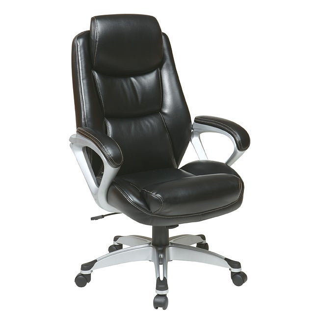 Office Star Products Executive Eco Leather Chair with Padded Arms
