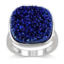 Miadora Sterling Silver Blue Druzy Gemstone Cocktail Ring