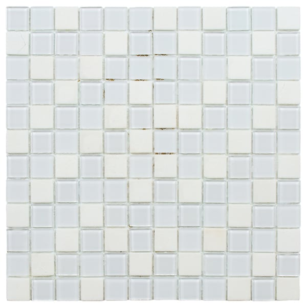SomerTile 11.5-inch Chroma Square Cordia Glass and Stone Mosaic Tile (Pack of 10)