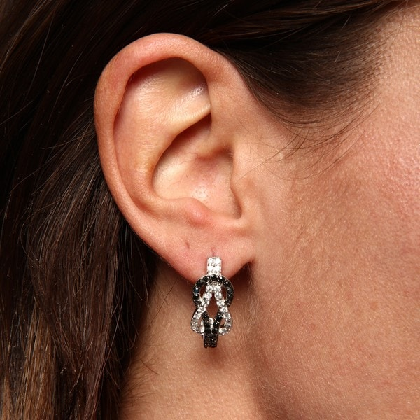 La Preciosa Sterling Silver Black and White CZ Love Knot Earrings