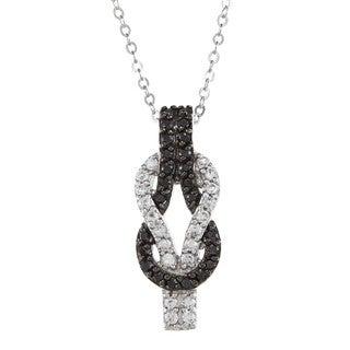 La Preciosa Sterling Silver Black and White CZ Love Knot Necklace