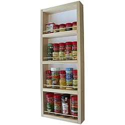 WG Wood Products Four-Shelf Solid Wood Surface Mounted Ktichen Spice Rack