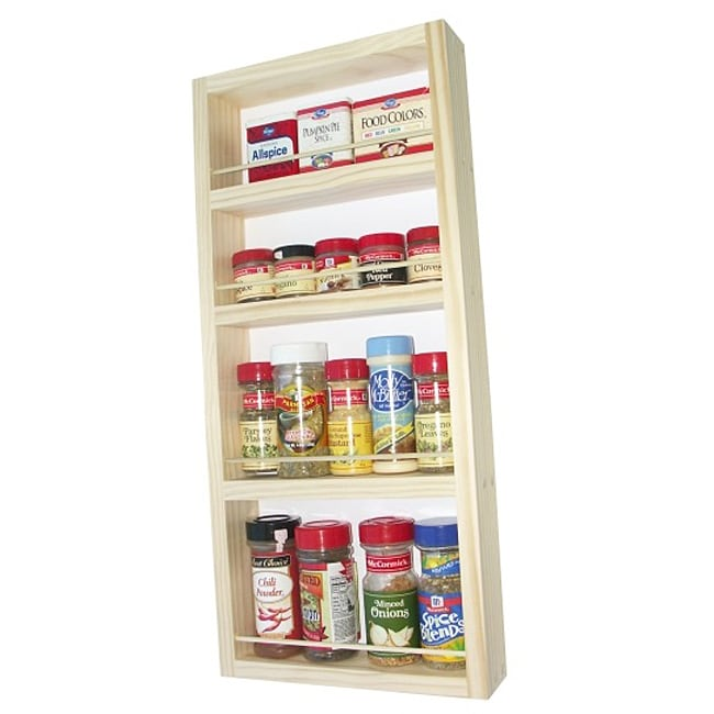 WG Wood Products Unfinished Solid Wood Surface Mounted Kitchen Spice Rack