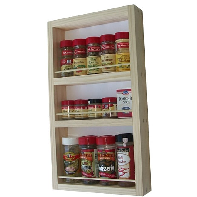 WG Wood Products Three-Shelf Solid Wood Surface Mounted Kitchen Spice Rack