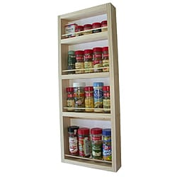 WG Wood Products Narrow Solid Wood Surface Mounted Kitchen Spice Rack
