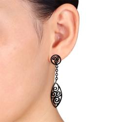Miadora Black-plated Stainless Steel Dangle Earrings