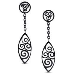 Miadora  Black-plated Stainless Steel Dangle Earrings