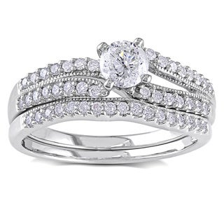 Miadora 14k White Gold 3/4ct TDW Diamond Bridal Ring Set (G-H, I2-I3)