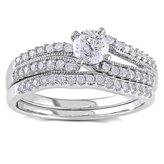 Miadora 14k White Gold 3/4ct TDW Diamond Bridal Ring Set (G-H, I2-I3)