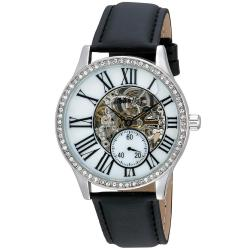 August Steiner Women's Crystal Skeleton Automatic Leather Strap Watch
